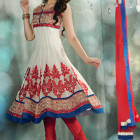 Off White Chanderi Art Silk Readymade Anarkali Churidar Kameez Online Shopping: KBP921