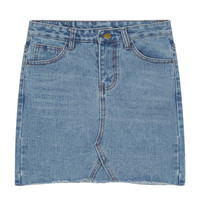Blue Light Wash Raw Hem Pencil Denim Skirt