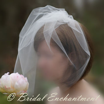 Handmade Bridal Blusher Veil, Birdcage Veil, Tulle Bridal Veil, Ready to Ship