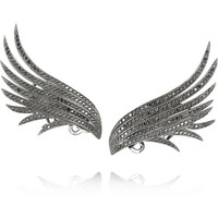 Ana Khouri | Wing 18-karat blackened gold diamond earrings | NET-A-PORTER.COM