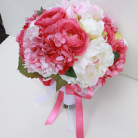 Sale - Bridal Bouquet, Wedding Fabric Bouquet, Pink Ivory Roses Peonies Hydrangea Ready to Ship