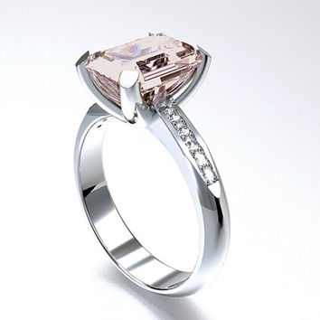 Morganite engagement ring, White Gold, Emerald cut morganite, Solitaire, Engagement ring, Diamond, peach morganite ring, custom, unique
