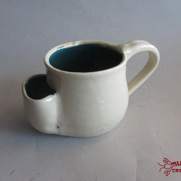 Teabag Mug - Size Small, White and Teal