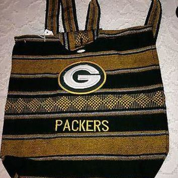 NFL Green Bay Packers Bohemian Woven Backpack Green and Gold NWOT