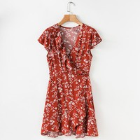 Floral Print Ruffle Wrap Summer Dress