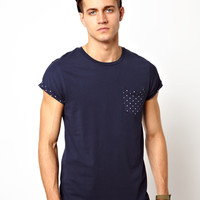 ASOS T-Shirt With Polka Dot Print Roll Sleeve And Pocket