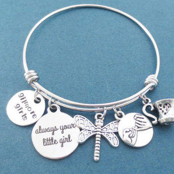 Always your little girl, gilmore girls, Pinky promise, Coffee, Mug, Dragonfly, Silver, Bangle, Bracelet, Gilmore, Lorelai, Gift, Jewelry