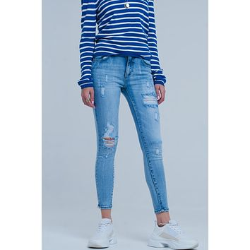 Light Ripped Skinny Jeans In Wash Blue