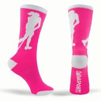Field Hockey Crew Socks (Pink) one size fits most