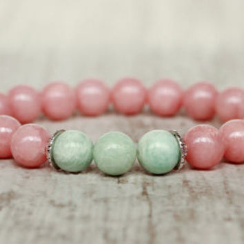 cute bracelet pink turquoise bracelet women present for mom birthday gift for her beaded bracelet summer kawaii bracelet girlfriend gift