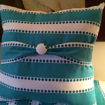 Turquoise and White Pillow (free Shipping)