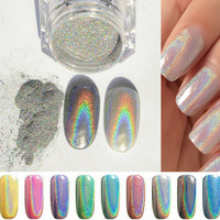 New 1g/box Shinning Mirror Powder Nail Gel Glitter Polish Silver Chrome Pigment Dust Nail Art Manicure DIY Acrylic Powder