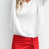 All Intertwined Dark Red Lace Up Skort