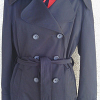Black trench rain coat Xlarge merona double breasted merona cotton polyester one button cuffs six button front