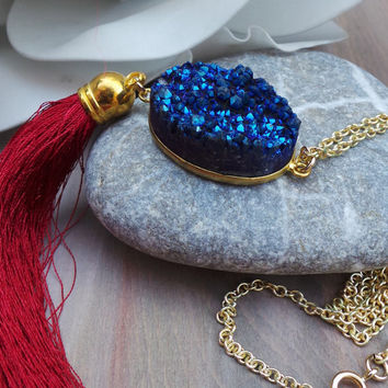 Druzy tassel necklace. Gold edged royal blue druzy necklace. Long gold chain druzy necklace. Druzy necklace. Natural stone necklace.