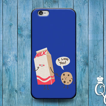 iPhone 4 4s 5 5s 5c 6 6s plus iPod Touch 4th 5th 6th Generation Cover Funny Custom Blue Milk Cookie I Love You Cute Fun Food Phone Cover
