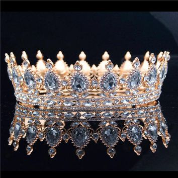 Ladies Queen King Bride Tiara Crown Headdress Crystal Diadem for Bridal Wedding Tiaras and Crowns Jewelry Hair Accessories