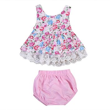 2017 Cute Newborn Baby Girl Clothes Set Summer Sleeveless Lace Floral Mini Dress Tops+Bloomers Shorts 2PCS Outfits Kids Clothing