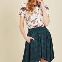 Get Your Foot in the Dorm Mini Skirt in Navy Plaid | Mod Retro Vintage Skirts | ModCloth.com