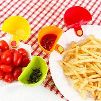 4 Pc Colorful Dipping Sauce Salad Dressing Plate Clips