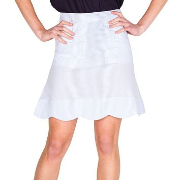 Scallop Skirt in Blue Seeresucker by Castaway Clothing - FINAL SALE