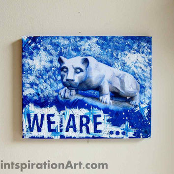 Mixed Media Painting Penn State Art - Nittany Lions College Decor Canvas Wall Art - PSU Original Artwork Blue and White Art Dorm Room Decor