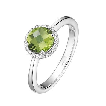 Lafonn Birthstone Sterling Silver Platinum Plated Lassire AUGUST Ring (Appx: 1.05 cttw Peridot Appx 0.85 cttw)