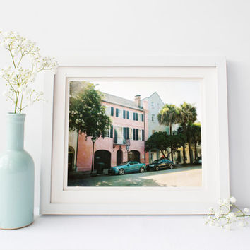 Charleston digital download, Rainbow Row, travel photography printable, southern architecture, South Carolina, vintage wall art, home decor