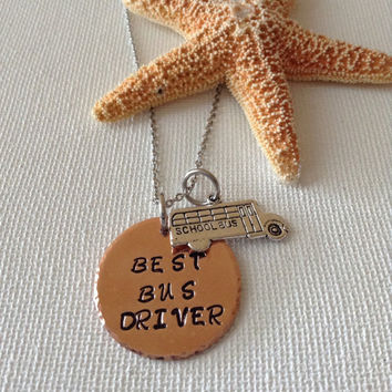 Bus driver necklace or keyring, best bus driver, school bus, drivers, gifts for bus drivers, name necklace, keyring.