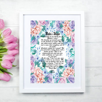 Personalized Mom Art Print, Digital Mother Poem, Personalized Mom Poem Gift, Mother's Day Wall Art Gift, Mom Roses Art Print, Mother Poem