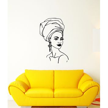 Vinyl Wall Decal African Girl Turban Native Ethnic Style Stickers (3695ig)
