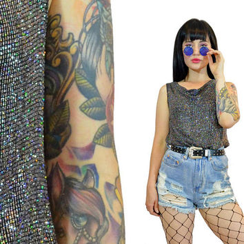 vintage 90s iridescent glitter shirt slinky 1990s sparkle metallic silver blouse cowl neck cyber grunge new wave raver gothic small