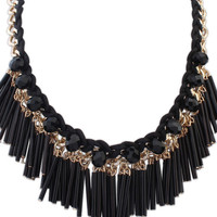 Braid Bead Fringed Collar Necklace
