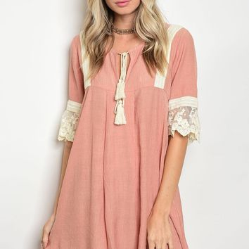 Ladies 3/4 sleeve w/lace details skater dress