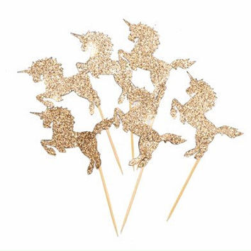 Glitter Unicorn Cupcake Topper- Food Pick | 12pk