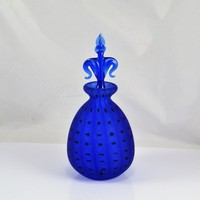 Perfume Bottle - Cobalt Blue Royal Limited Crystal - 24% Lead Crystal - Fleur-de-lis Stopper - Vintage Vanity