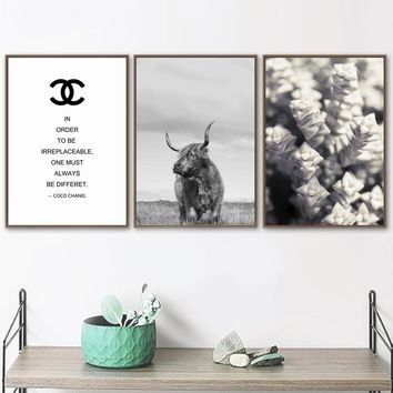 Wall Art Canvas Painting Quotes Yak Flower Nordic Posters And Prints Black White Salon Wall Pictures For Living Room Home Decor