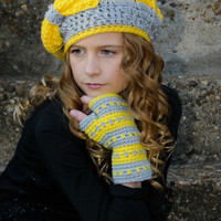 Crochet Fingerless Gloves Gray and Yellow Texting Mitts Tween Fashion Wristies