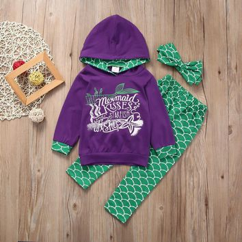 3pc. Boutique Toddler Kids Girls Clothes Set Mermaid Hoodie Tops Pants 1-6 years