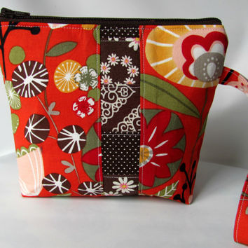 SALE 15% OFF Cosmetic Bag Wristlet , zippered pouch, Make up Bag Patchwork Red Kaori Floral Alexander Henry Fabrics