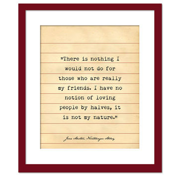 Northanger Abbey Quote - Jane Austen - Library Card Art - Book Lovers Poster - Literary Poster - Book Gift - Teacher Gift - Jane Austen Gift