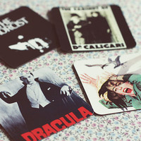 Classic Movies Fridge Magnets-set of 4.The Cabinet of Dr Caligari - Horror Movie Cult. Dracula. Alfred Hitchcock - The Birds. The Exorcist