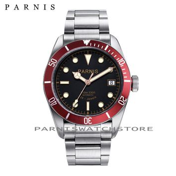 41mm Parnis Watch  Automatic Watch Men Rotating Bezel 24 Jewels Luminous 10ATM Full Stainless Steel Men's Mechanical Watches