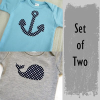 Nautical Baby Boy Clothes // Navy Blue and Gray Boys Clothing // Set of Two Boys Baby Gift Set / Newborn Infant Nautical Clothing / veryKIKI
