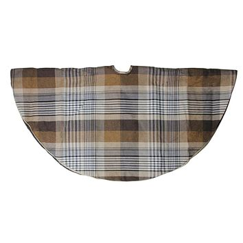 "48"" Brown Plaid Rustic Woodland Christmas Tree Skirt with Gold Trim"