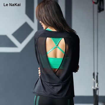 Le NaKai Open back sports shirt for women long sleeve cut out back breathable yoga top shirts trainning exercise mesh yoga shirt
