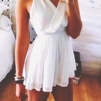 White V-Neck Sleeveless Skater Dress