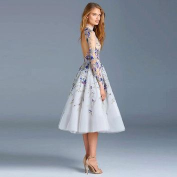 New Illusion Tulle Light Blue Cocktail Dresses 2017 Embroidery Beading Backless High Neck Long Sleeves Prom Dress Vestidos W167