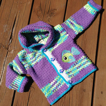 Crochet Baby Sweater,  Handmade Crochet Baby hoodie - children's sweater size 1