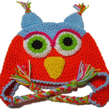 Childrens Owl  Hat, Kids owl hat, Crochet owl hat